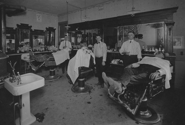 An old barbershop designed for men's hairstyles, haircuts, shaving and male grooming